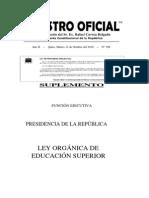 Www.ecuadorlegalonline.com Ley Organica Educacion Superior