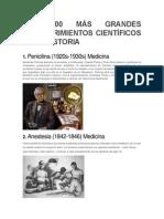 LOS 100 MÁS GRANDES DESCUBRIMIENTOS CIENTÍFICOS DE LA HISTORIA