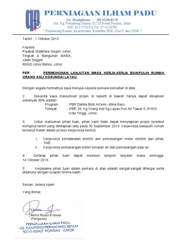 Surat Lanjutan Masa Projek Rumah Pbr Sg Layau Dahlia Binti Arzemi 30 September 2013