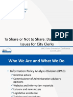 MGDPA iPad to Share or Not to Share Data Issues for City Clerks