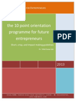10 Point Orientation Programme for Future Entrepreneurs
