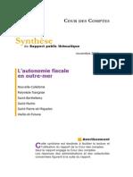 Synthese Rapport Thematique Autonomie Fiscale en Outremer