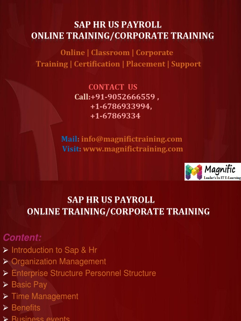 Sap Hr Us Payroll Online Training Payroll With Certification