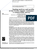 A Purchasing Motives and Profile of the Greek Organic Consumer a Countrywide Survey