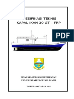 Spesifikasi Teknis Kapal Ikan 30 GT- FRP