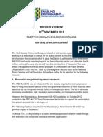 Miscellaneous Amendments Bill,2013- Press Statement 28th Nov 2013