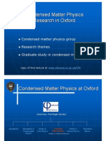 Condensed Matter Oxford