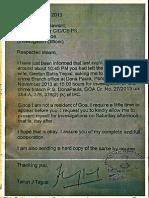 Tarun Tejpal's Letter to Goa police