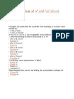s Plural Pronunciation