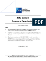 CMA 2013 SampleEntranceExam Revised May 15 2013