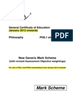 Philosophy - New Aqa Mark Scheme Jan 2012