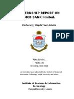 Internship report on MCB (PIA Society branch) 2013 by Azka Sumbel, IBIT