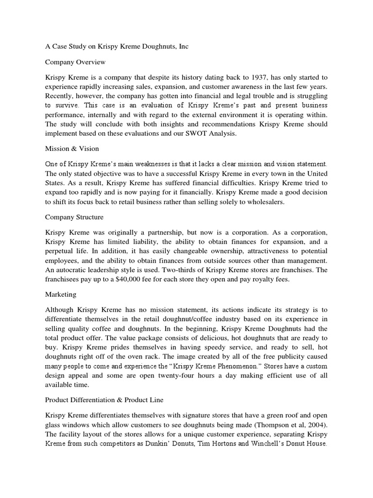 krispy kreme mission statement