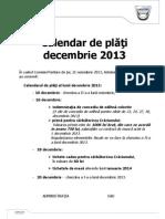 Nota Info 25 Calendar de Plati Decembrie 21 Noi 2013