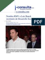 27-11-2013 E-consulta.com - Nombra RMV a Luis Banck Secretario de Desarrollo Social