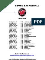 Williamsburg Varsity Schedule  13-14