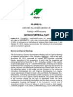 Material Fact - Private Issuance of Mandatorily Convertible Debentures