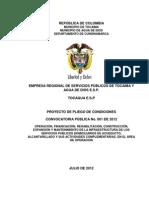 Proyecto de Pliego de Condiciones Convocatoria No. 001 de 2012 1