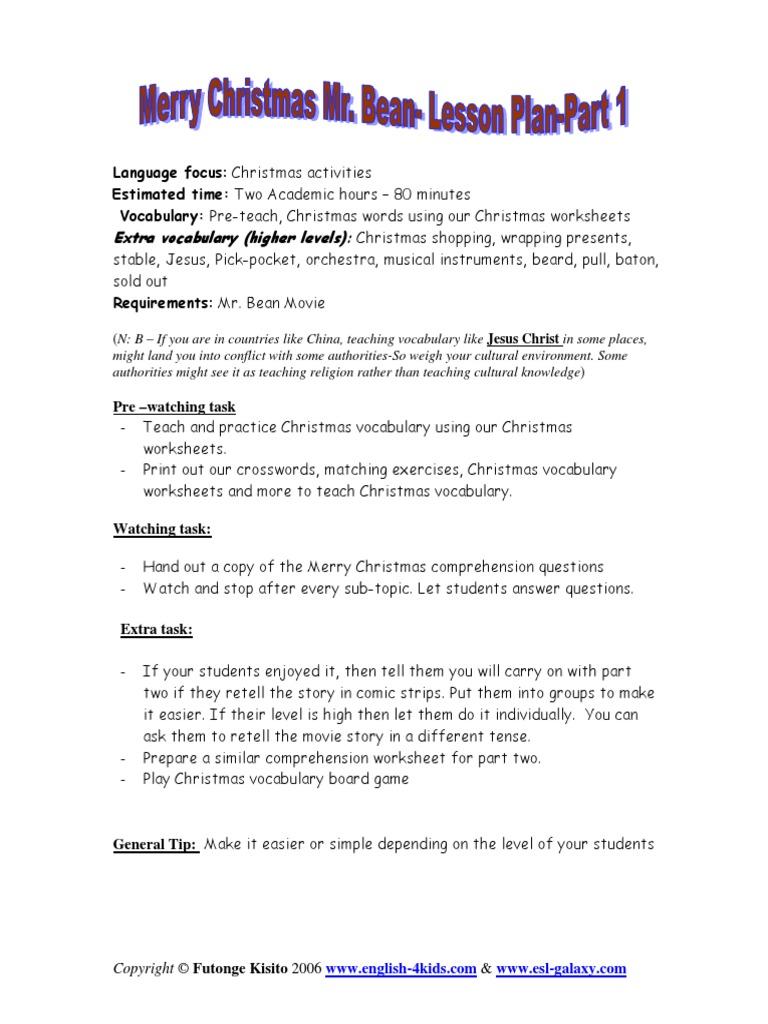 Merrychristmasmran Christmas Vocabulary