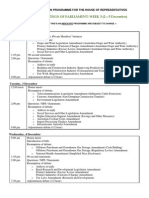 Draft  Legislation Programme - House of Reps 2 - 5 December