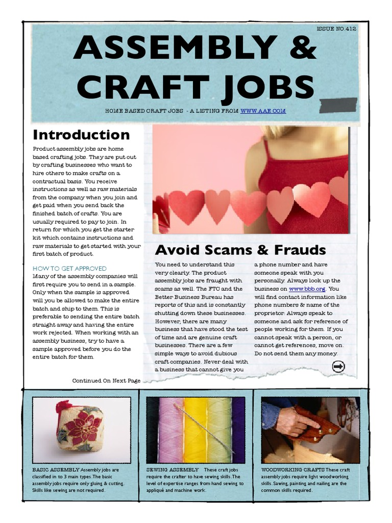 Craft Assembly Jobs I   Sewing   Facebook