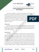 Design of Wireless Sensor System for Neonatal Monitoring