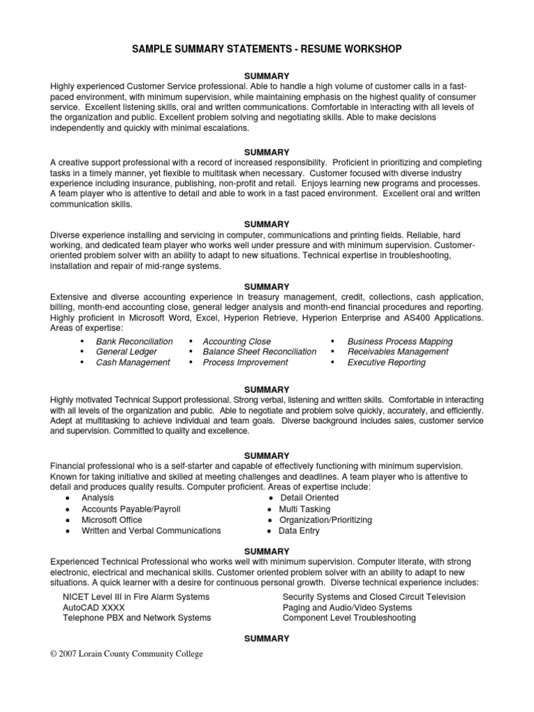 Summary Statements for Experience Resume General | Business Process ...