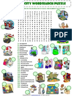 Places in a City Wordsearch Puzzle Vocabulary Worksheet
