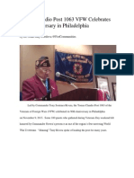 Tomas Claudio Post 1063 VFW Celebrates 90th Anniversary in Philadelphia