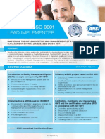 Certified ISO 9001 Lead Implementer - Four Page Brochure