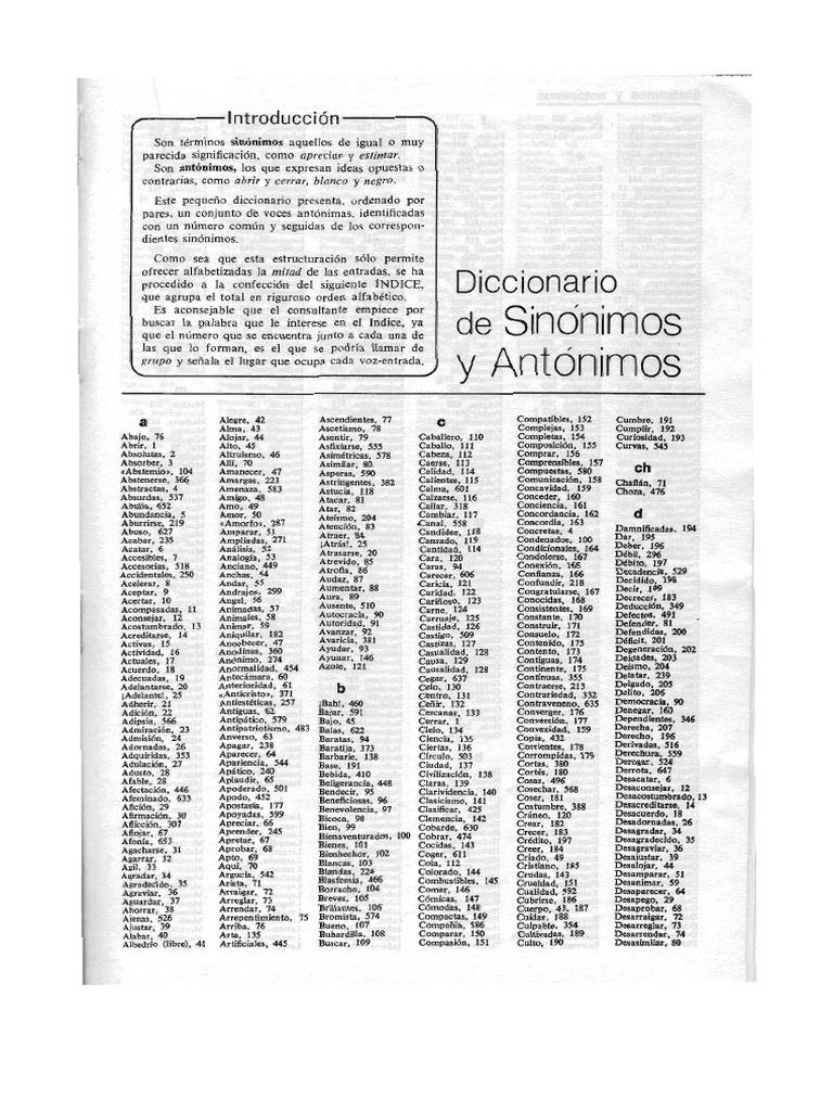Diccionario de Sinonimos y Antonimos (Vr) - photo#24