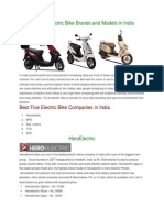 Popular Electric Bike Brands and Models in India