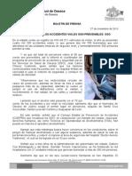 27/11/13 MÁS DEL 95% DE LOS ACCIDENTES VIALES SON PREVENIBLES SSO