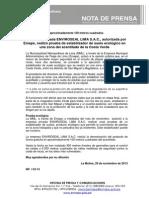 NP. 119-13 La empresa  privada ENVIROSEAL LIMA S.A.C. autorizada  por Emape realizó  prueba de  estabilizador de suelo ecológico en una zona del acantilado de la Costa Verde