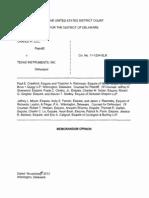 Cradle IP, LLC v. Texas Instruments, Inc., C.A. No. 11-1254 (D. Del. Nov. 20, 2013)