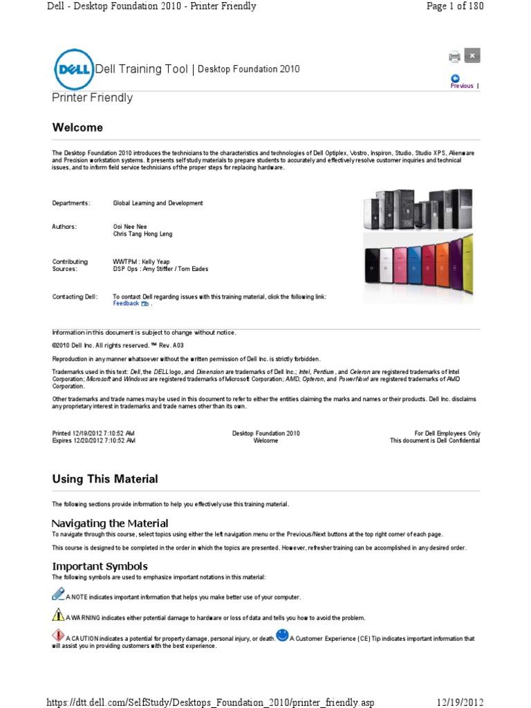 Dell Foundations Desktop 2010 Training Manual | Hard Disk Drive | Dell
