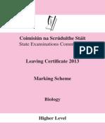Biology Marking Scheme 2013