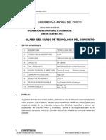 SILLABUS-TECNOLOGIA DEL CONCRETO- ing Sandro Peñalva-C