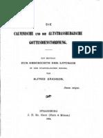 Alfred Erichson, Die Calvinische und die Altstrassburgische Gottesdienstordnung