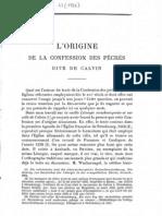 Alfred Erichson, L'Origine de la Confession Des Péchés dite de Calvin