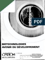 Biotechnologies - avenir du développement