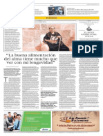 """""""La buena alimentación del alma tiene mucho que ver con mi longevidad"""" - El Comercio Arequipa - Entrevista a Andreina Rivera (11/05/2013)"""