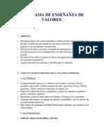 PROGRAMA DE ENSEÑANZA DE VALORES