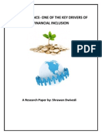 Micro finance -  One of the Key Drivers of Financial Inclusion by Shrawan Dwivedi