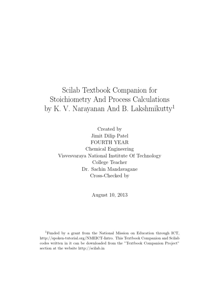 stoichiometry and process calculations k v narayanan and b rh es scribd com Solution Stoichiometry Worksheet Stoichiometry and Molarity