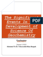 The Significant Events in the Development of Science of Geochemistry