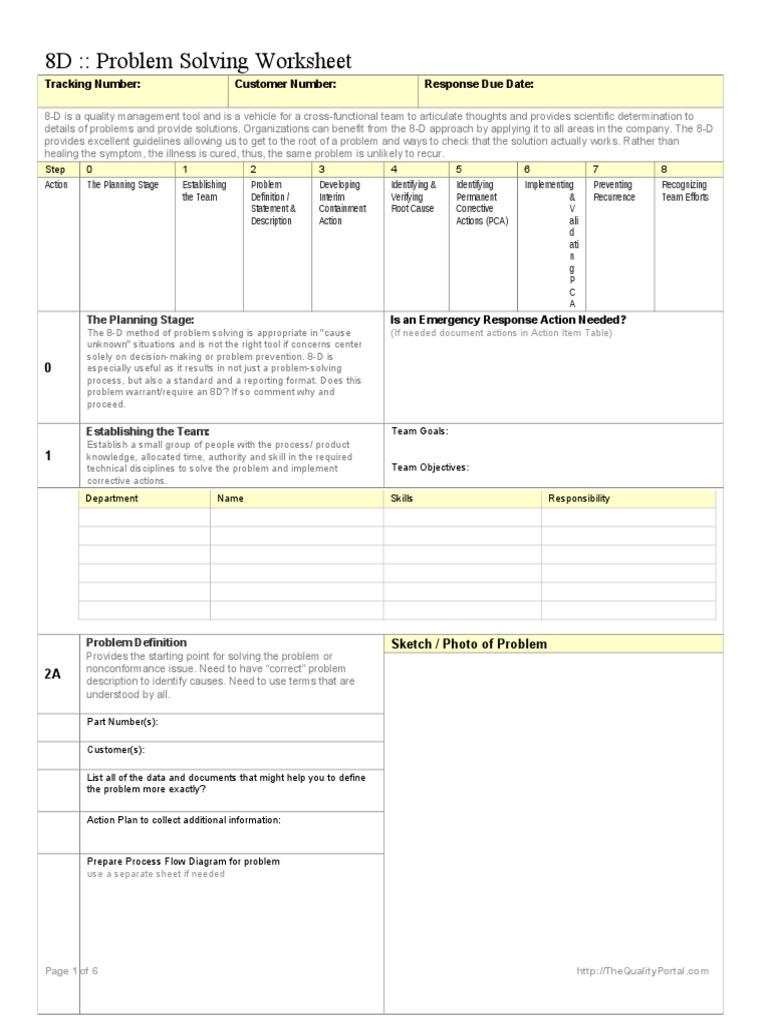 8d problem solving worksheet