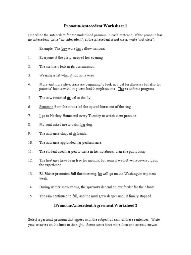 Pronoun Antecedent Worksheet Syntactic Relationships Language Mechanics