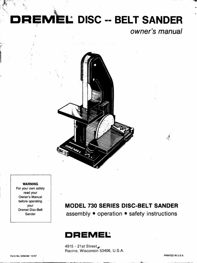 Dremel 730 Belt:Disk Sander Manual