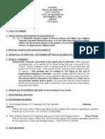 City Council Agenda Dec. 2nd 2013